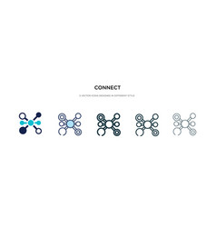 connect icon in different style two colored and vector image