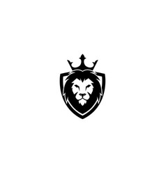creative black lion head crown king shield logo vector image