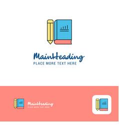 creative book and pencil logo design flat color vector image