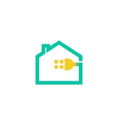 creative house plug logo vector image