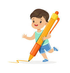 Cute little boy holding giant orange pen cartoon vector
