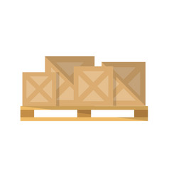 Delivery boxes on pallet icon vector