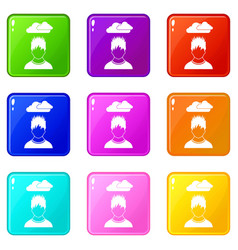 Depressed man with dark cloud over his head icons vector