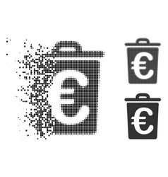 Disappearing dot halftone euro trash icon vector
