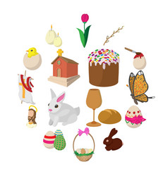easter cartoon icons vector image