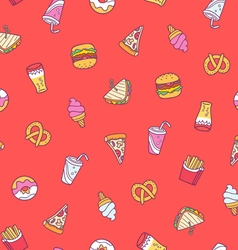 Fast food seamless pattern on red background vector image