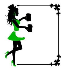 female silhouette with beer mugs and frame with cl vector image