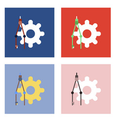 flat icon design collection gear and tool vector image