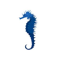 flat icon of blue seahorse exotic marine vector image