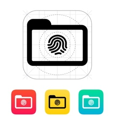Folder with fingerprint icon vector image