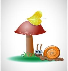 Funny snail near mushroom vector image