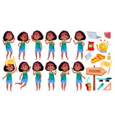 Girl schoolgirl poses set black afro vector
