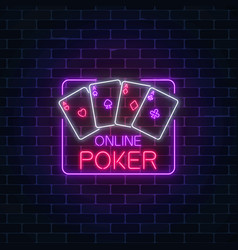Glowing neon sign of online poker application in vector