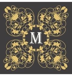 gold monogram frame with letter m on dark vector image