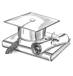graduate cap and diploma education vintage set vector image
