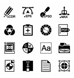 Graphic design icon set vector image
