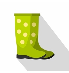 Green rubber boots icon flat style vector