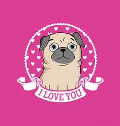 greeting card with funny pug vector image