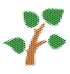 halftone dot plant tree icon vector image