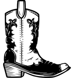 hand drawn cowboy boot isolated on white vector image