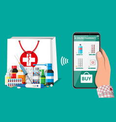 Hand holding phone with internet pharmacy app vector