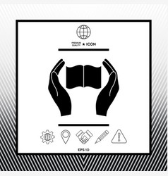 Hands holding book- protection icon vector