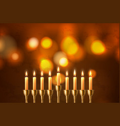 Hanukkah jewish holiday menorah david star vector