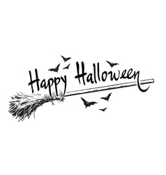happy halloween hand drawn lettering old magic vector image