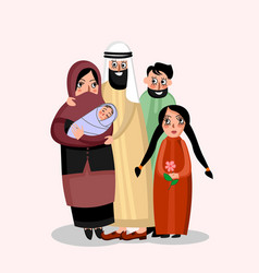 Happy muslim family vector