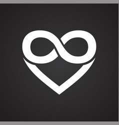 Heart infinity symbol icon on black background for vector