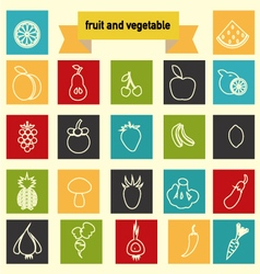 Icon set with Healthy Food Vegetables and fruits vector