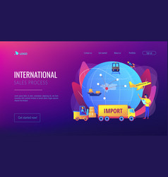 Import goods and services concept landing page vector