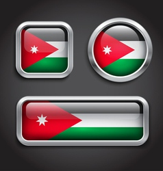 Jordan flag glass buttons vector