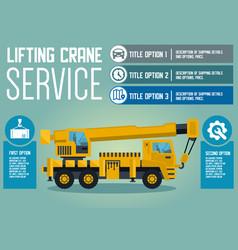 Lifting crane service flat vector