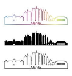 Manila skyline linear style with rainbow vector