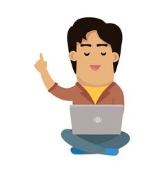 Men with laptop seating in lotus pose flat vector