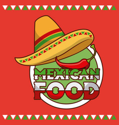 Mexican food hat and chili pepper card vector