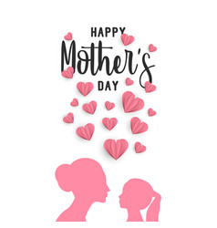 Mother day paper art greeting card with little vector
