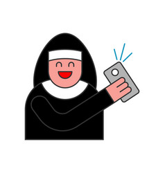 Nun of selfie catholic religious woman vector