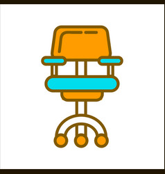 Office chair in blue and yellow colors graphic vector