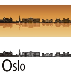 oslo skyline in orange background vector image