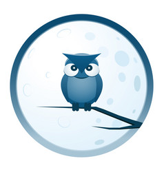 owl and moon round icon vector image