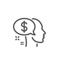 Pay line icon think about money sign vector