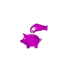 piggy bank and hand with coin black icon vector image