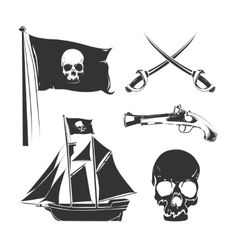 Pirate elements for vintage logo labels vector