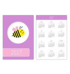 pocket calendar 2017 year week starts sunday vector image