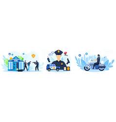 Police work set cartoon flat vector