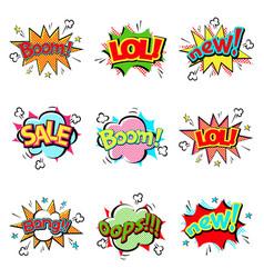 Pop art comic speech bubble boom effects vector