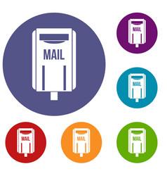 Post box icons set vector