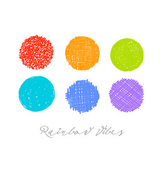 rainbow colored scribble circles on white vector image
